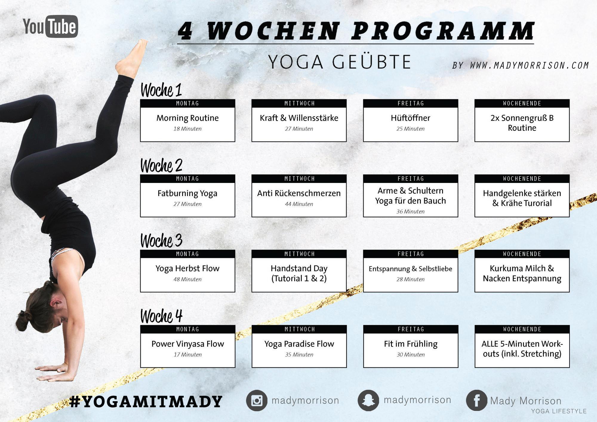 Atemberaubend 4 Wochen Yoga Programm | Für Anfänger & Geübte - Mady Morrison #EL_55
